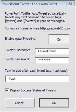 ppt twitter tools dialog box